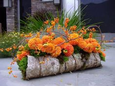 fall arrangement. Love how they used sheet bark over foam to achieve this log look