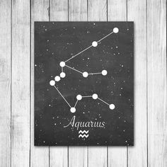 Aquarius Zodiac Constellation Chalkboard Style Astrology Horoscope Digital Art Print on Etsy, $10.00