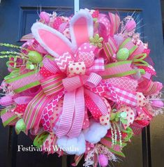 Easter Deco Mesh Wreath Easter Bunny Door by FestivalofWreaths Spring Door Wreaths, Easter Wreaths, Holiday Wreaths, Halloween Wreaths, Wreath Crafts, Diy Wreath, Wreath Ideas, Wreath Making, Diy Crafts