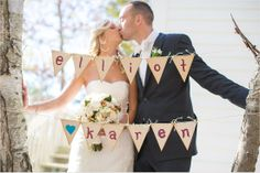 cute little rustic pennant sign outside the church