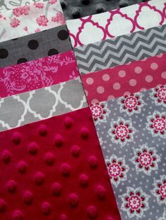 """64 - 5"""" Charm Pack of Flannel Minky Cotton Quilt Squares for Baby Girl Quilt Top Hot Pink & Gray Chevron Dots Floral Gorgeous NEW!"""
