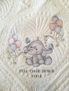 Embroidered Baby Blanket, Personalized Blanket, Baby Elephant This lovely personalized baby blanket would be the perfect baby shower gift, or gift for a new family. This soft, exquisite (and washable!) quilt is perfect for nursery decor, tummy time, nap time, playtime, picnics, or Embroidered Baby Blankets, Machine Embroidery Designs, Embroidery Patterns, Hand Embroidery, Newborn Baby Photos, Baby Sewing Projects, Personalized Baby Blankets, Custom Quilts, Shirt Quilt