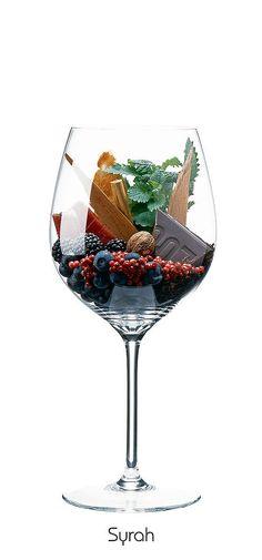 SYRAH  Blueberry, blackberry, mint, cranberry, cinnamon, nutmeg, chocolate, bacon, toast, cedar