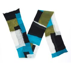 Wool Fusion Unisex Scarf in Blue/Green/Black/White