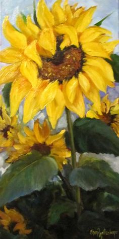Brilliant Sunflower Canvas Painting 10x20 by ChatterBoxArt on Etsy