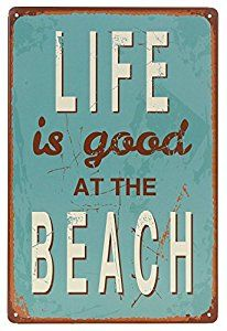 I bought this sign to go with all my other beach decorations in my bedroom.  It is tin, very light and thin, and has that distressed look like it's been used for quite a while.  There are tiny holes in each corner so you can hang by string or tiny nails.  I currently have it hanging with Command strips until I decide where I want it to hang permanently.  This is my favorite beach sign!