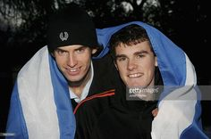 Brothers Andy Murray (L) and Jamie Murray of Scotland pose for a photo at the previews to the Aberdeen Tennis Cup on November 25, 2005 at the Marcliffe Hotel in Aberdeen, Scotland.