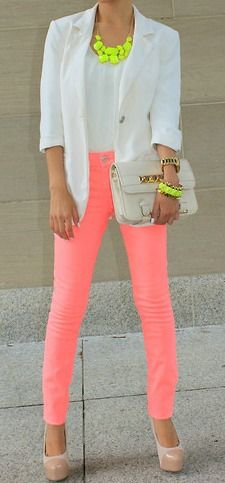 This neon salmon pink is gorgeous. The neon pop with white and nude is fantastic.