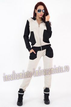 Trening Dama Casual Bej Cu Negru Model Deosebit Online Shopping For Women, Casual, White Jeans, Clothes For Women, Sports, Model, Fashion, Outerwear Women, Hs Sports