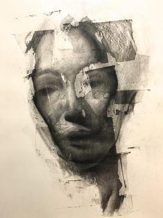 Artist Daniel Ochoa Portrait charcoal on paper and transparent gesso, 2017 Figure Painting, Figure Drawing, Portrait Art, Portraits, Portrait Inspiration, Art Portfolio, Life Drawing, Face Art, Amazing Art