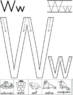 alphabet letter w worksheet standard block font preschool printable activity early Preschool Writing, Preschool Letters, Preschool Printables, Learning Letters, Preschool Lessons, Preschool Learning, Kindergarten Worksheets, Teaching, Letter W Worksheets