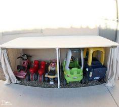 New Kids Playroom Organization Car Garage 35 Ideas Outdoor Toy Storage, Diy Toy Storage, Kids Storage, Outdoor Toys, Storage Ideas, Storage Hacks, Tool Storage, Outdoor Play, Storage Solutions