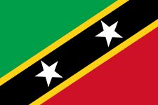 The flag of St. Kitts and Nevis was officially adopted on September 19, 1983. The green color is said to be symbolic of the fertile land, black recalls the African heritage of St. Kitts, and red the overall struggle for freedom. The two white stars indicate hope and liberty.