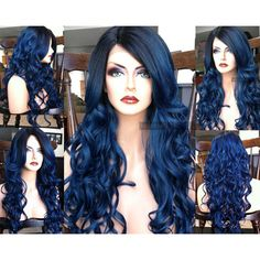 """U.S.A. 23"""" Dark Blue Wavy HEAT Ok Lace Front Skin Part Ombre Wig w/... ($83) ❤ liked on Polyvore featuring beauty products, haircare, hair styling tools, flat iron, styling iron, curly hair care, straightening iron and flat curling iron"""