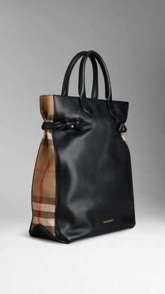 Check Detail Leather Portrait Tote Bag | Burberry. Love this!!!