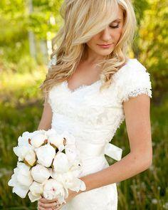 modest lds lace ball gown wedding dress - Google Search