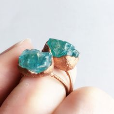 Blue Raw Stone Ring Raw Crystal Copper Ring by TheScrapRabbit