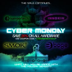Use coupon code 'cybermonday2013' to save 20% on all