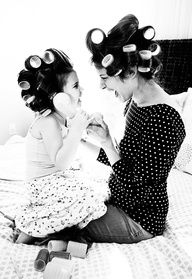 mother daughter curlers photo for bathroom...maybe next to daddy & son shaving? That would be adorable