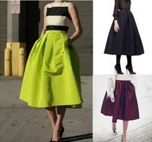 Classical French Vintage High Quality Neon Green Long Skirt Ball Gown Maxi Skirts Fashion Skirts Womens(China (Mainland))