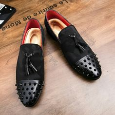 US $29.05 <Click to buy> Men Party Focus Rivet Loafers Tassele Decoration Quality Cotton Upper Fashion Flats Night Club Super Star Shoes Dropship