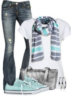 Like the white shirt with the scarf & shoes. Don't care for the holes in the jeans.