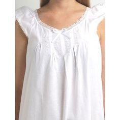Olivia Nightgown #whitecotton 100% cotton Long length, short sleeved, satin ribbon http://www.jacarandaliving.com/ladies-sleepwear/ladies-nighties/el256-olivia-nightgown.html