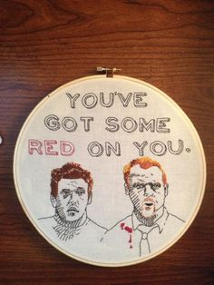 Embroidery Hoopla R8 - The Wordy Round Gallery - ORGANIZED CRAFT SWAPS #ShaunoftheDead
