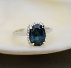 »White Gold #Engagement #Ring 2.9ct Blue Green by #EidelPrecious« #wedding #weddinginspiration #ring #jewelry #ring