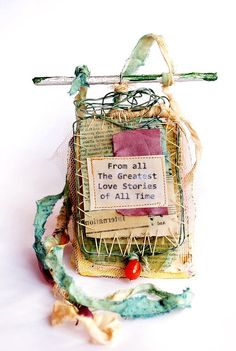 From all the greatest love stories - statement contemporary mixed media collage fabric textile necklace