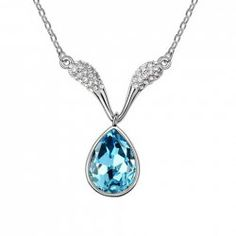 $1.37 Sweet Rhinestoned Waterdrop Pendant Decorated Necklace For Women