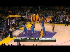 Lakers Rein Thunder In - May 18, 2012 – Los Angeles, CA  Kobe Bryant's 36 points helped the Los Angeles Lakers to a 99-96 thriller over the Oklahoma City Thunder in Game 3 of the Western Semifinals. Down two games to none, the Lakers shook off their Game 2 collapse and kept control of the game's pace, which allowed them to keep the scoring down, especially in the 4th quarter.
