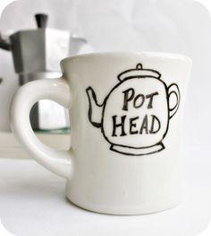 Funny Mug tea mug tea cup diner mug black white hand painted pot head by KnotworkShop on Etsy