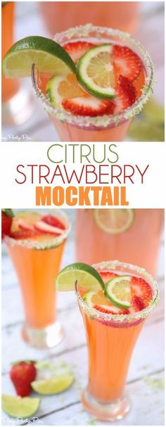 citrus strawberry mocktail looks amazing, one of the best non-alcoholic summer drinks!This citrus strawberry mocktail looks amazing, one of the best non-alcoholic summer drinks! Non Alcoholic Cocktails, Drinks Alcohol Recipes, Cocktail Recipes, Drink Recipes, Easy Mocktail Recipes, Mocktail Drinks, Non Alcoholic Margarita, Punch Recipes, Top Recipes