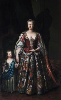 Queen Caroline of Ansbach (1683–1737), with Her Son, Later the Duke of Cumberland by Ramsey Date painted: c.1730