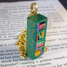 Miniature Skinny Bookcase Necklace Mini Book Case Charm Green with Gold Embossing (Made to Order).
