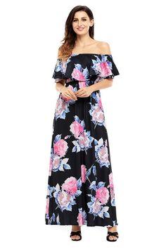Flower Print Black Grounding Off Shoulder Long Boho Dress Classic Wedding Dress, Wedding Dress Styles, Floral Print Maxi Dress, Boho Dress, Bohemian Dresses, Dress Beach, Cheap Dresses, Fashion Dresses, Maxi Dresses
