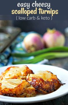 If you miss potatoes on a low carb diet, try this cheesy keto scalloped turnips recipe. Only needs 4 ingredient and has only 1.8g net carbs. #turnips #potatosubstitute #ketosidedish #lowcarbsidedish #scallopedpotatoes Turnip Recipes, Roasted Turnips, Low Carb Recipes, Healthy Recipes, Fitness Models, Photo Food, Low Carb Side Dishes, Recipe For 4