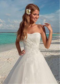 comprar Vestidos de escote una línea de novia fuera del hombro de encaje y tul con Encanto de descuento en Dressilyme.com