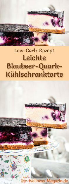 Rezept für eine Low Carb Blaubeer-Quarktorte: Der kohlenhydratarme, kalorienreduzierte Kuchen wird ohne Zucker und Getreidemehl zubereitet ... #lowcarb #kuchen #backen