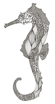 Black and White Seahorse #ink art #seahorse