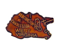 """WEST VIRGINIA State vintage lapel cloisonne enamel pin WV Charleston Huntington by VintageTrafficUSA  11.00 USD  Add inspiration to your handbag tie jacket backpack hat or wall. Have some individuality = some flair! 20 years old hard to find vintage high-quality cloisonne lapel/pin. Beautiful die struck metal pin with colored glass enamel filling. A vintage West Virginia pin Excellent condition. Measures: approx 1"""" -------------------------------------------- SECOND ITEM SHIPS FREE IN USA…"""