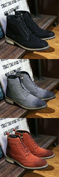 < Click to buy > Prelesty Brand Autumn Winter Vintage Wingtip Boots Retro Leather Casual Men Boots Dress Shoes Low Platform Botas Hombre