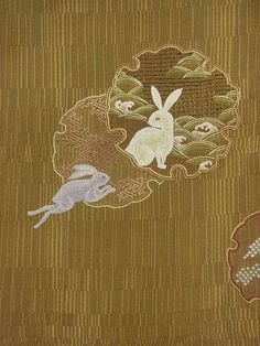 Japanese Embroidery Kimono Rabbits, stitched with Japanese knots, in snow crystal shapes. Chinese Embroidery, Sashiko Embroidery, Embroidery Patterns Free, Embroidery Thread, Embroidery Designs, Embroidery Online, Tambour Embroidery, Fun Patterns, Scenery Paintings