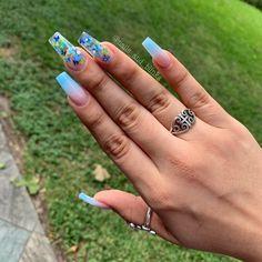 Cinderella Nails, Blue Acrylic Nails, Long Nail Designs, Crazy Nails, Glam Nails, Fire Nails, Nails On Fleek, Simple Nails, Trendy Nails