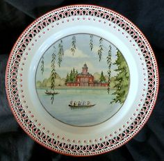 late 18thc porcelain plate, KPM, scenic, lake, building, Georgian, oriental, 9.5
