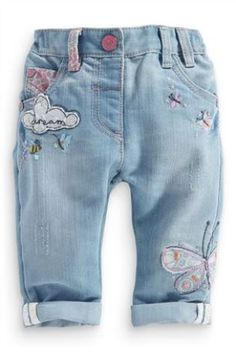 Girls Butterfly Embellished Jeans cute x