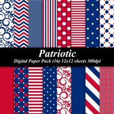 BUY 2 GET 1 FREE - Patriotic Digital Paper Pack (16) 12x12 sheets 300 dpi scrapbooking invitations 4th of July Independence red white blue. $4.00, via Etsy.