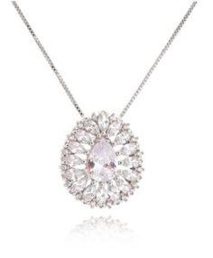colar delicado gotinha zirconias cristais e banho de rodio semi joias finas