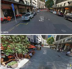 Reprojetado para pedestres - Forth St., Auckland, Nova Zelânda.
